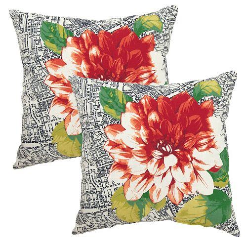Plantation Patterns Outdoor Printed Throw Pillow 2-piece Set