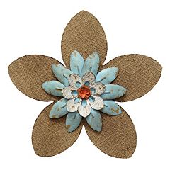 Stratton Home Decor Burlap & Light Blue Flower Wall Art