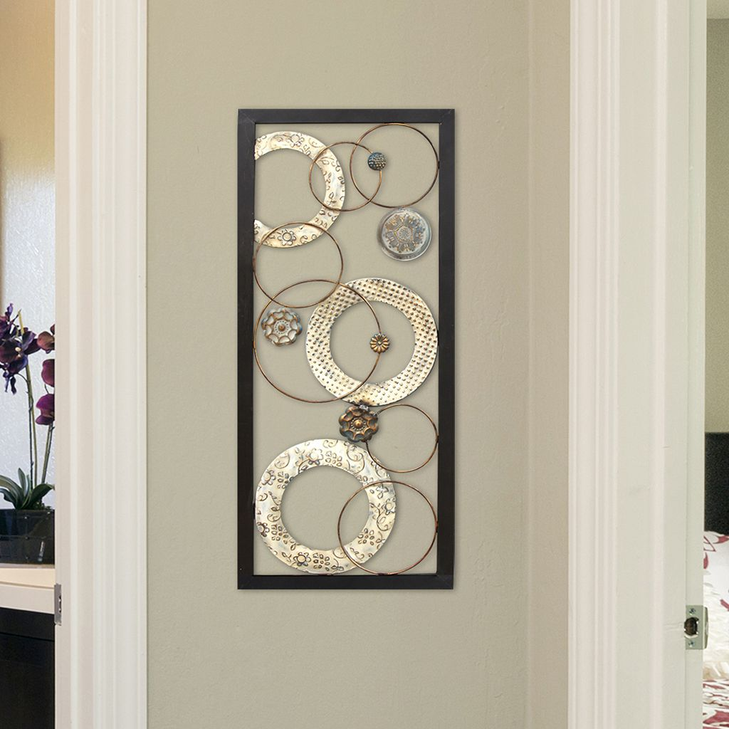 Stratton Home Decor Stamped Circles Panel Wall Art