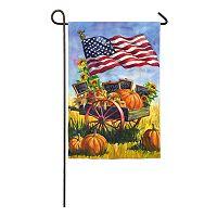Evergreen Enterprises Patriotic American Flag Farm Wagon Indoor / Outdoor Garden Flag
