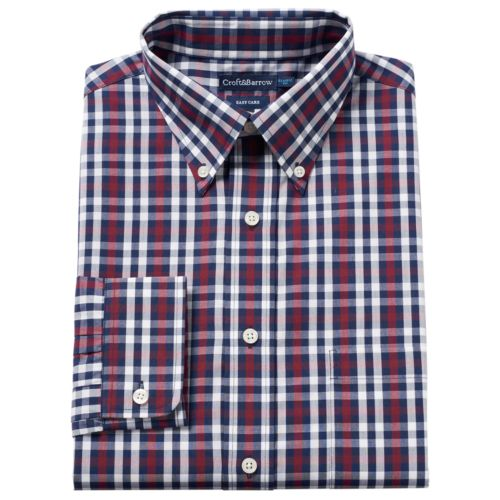 Men's Croft & Barrow® Fitted Easy-Care Button-Down Collar Dress Shirt