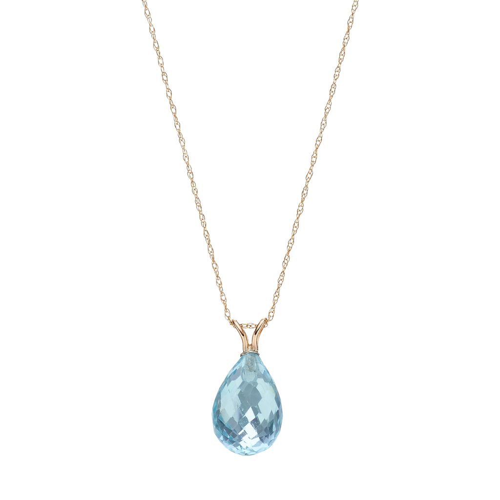 14k Gold Blue Topaz Briolette Pendant Necklace