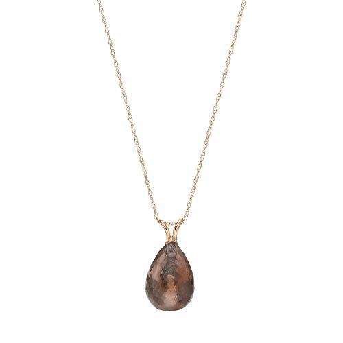 14k Gold Smoky Quartz Briolette Pendant Necklace