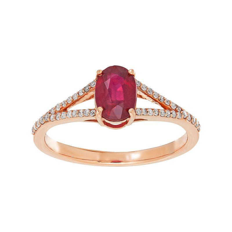 10k Rose Gold Ruby & 1/8 Carat T.W. Diamond Oval Ring, Women's, Size: 7, Red -  Macy's