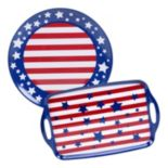Certified International Stars & Stripes 2 pc Platter Set