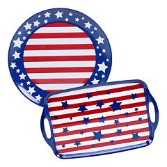 Certified International Stars & Stripes 2 pc Platter Set