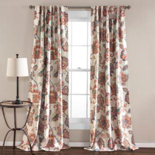 Lush Decor 2-pack Aster Jacobean Room Darkening Window Curtains