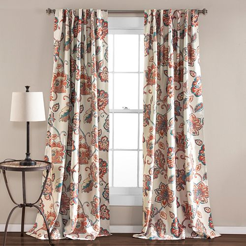 Lush Decor 2-pack Aster Jacobean Room Darkening Window Curtains