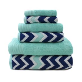 Pacific Coast Textiles 6-piece Cotton Yarn-Dyed Chevron & Solid Mix & Match Towel Set