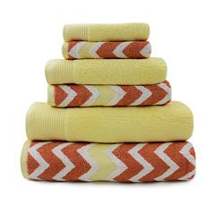 Pacific Coast Textiles 6 pc Cotton Yarn-Dyed Chevron & Solid Mix & Match Towel Set