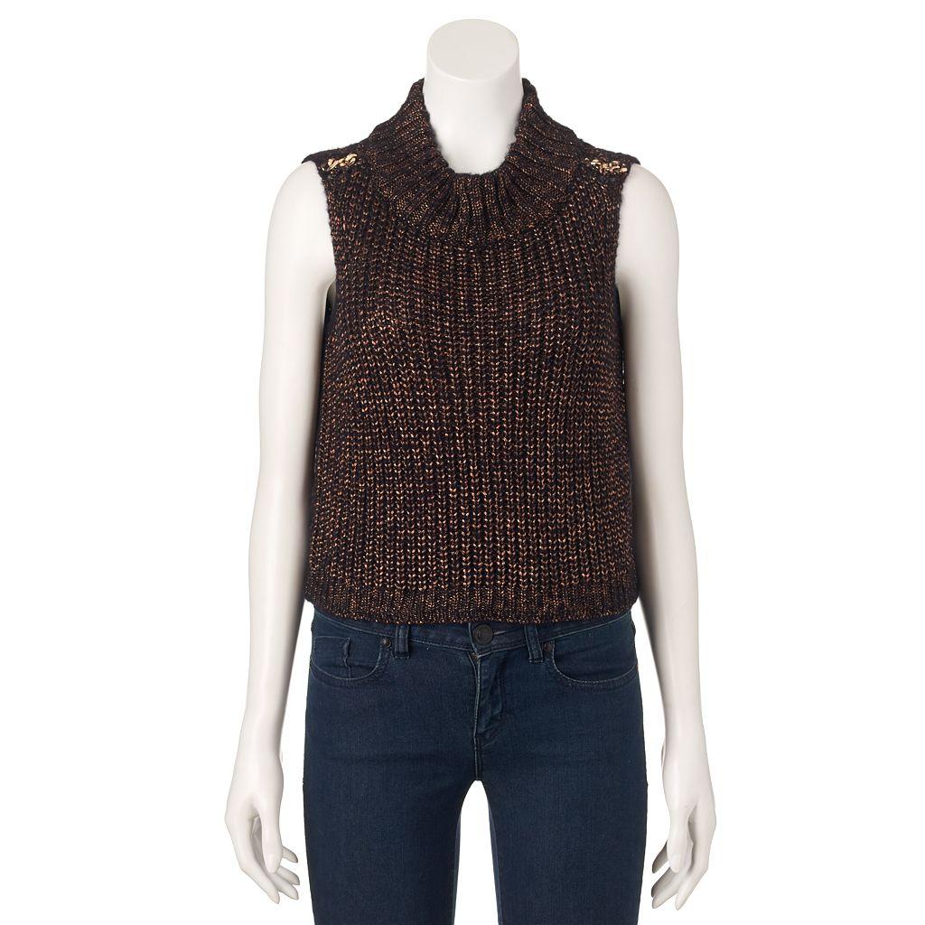 Women's Jennifer Lopez Metallic Crop Mockneck Sweater