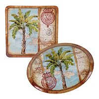 Certified International Aqua Palms 2-pc. Platter Set