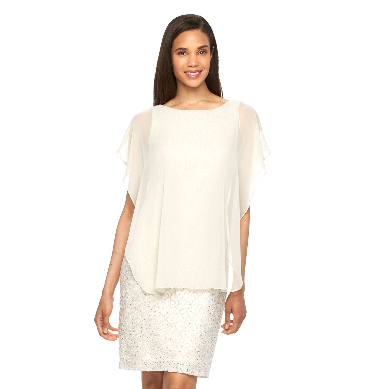 Womens Scarlett Capelet Lace Sheath Dress