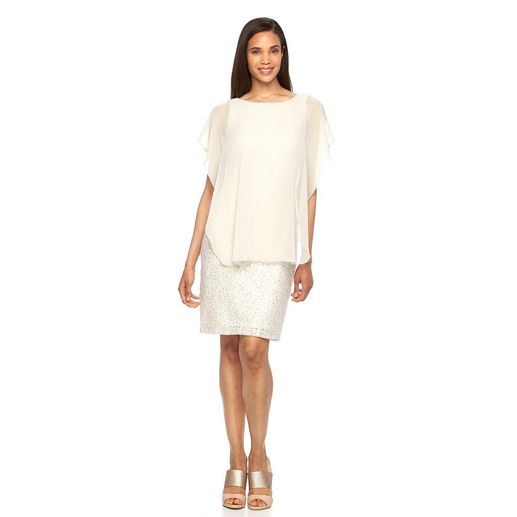 Women's Scarlett Capelet Lace Sheath Dress