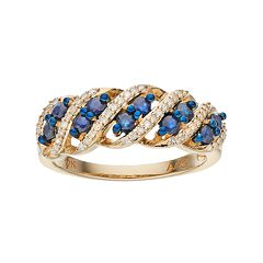 10k Gold Sapphire & 1/6 Carat T.W. Diamond Twist Ring