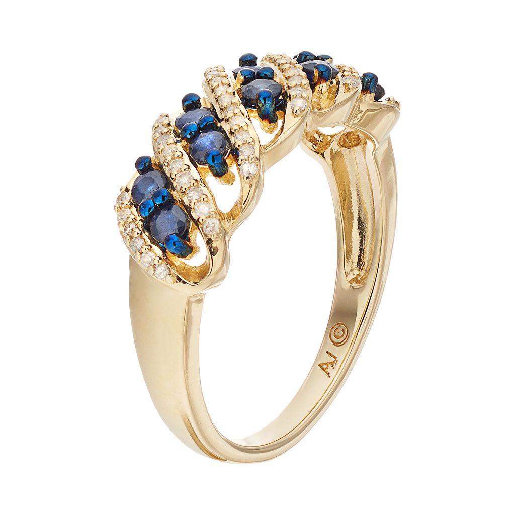 10k Gold Sapphire & 1/6 Carat T.W. Diamond Twist Ring