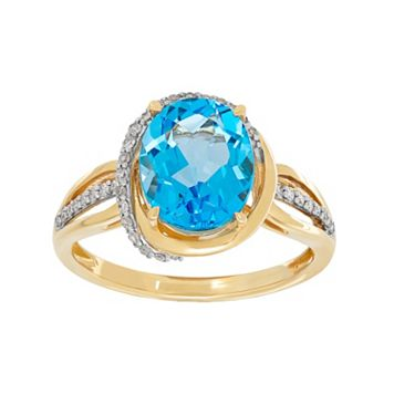10k Gold Blue Topaz & 1/6 Carat T.W. Diamond Halo Ring