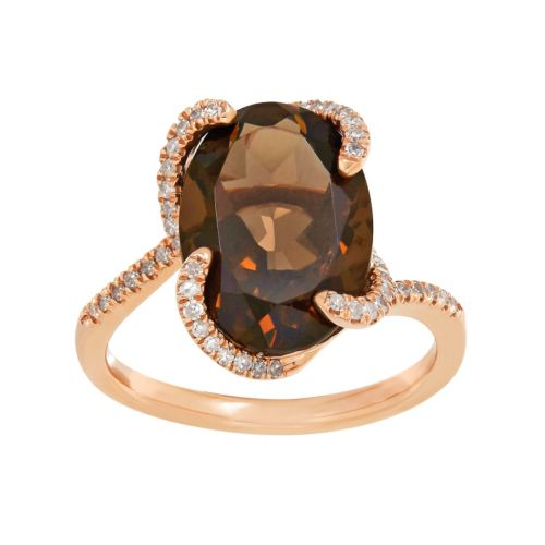 10k Rose Gold Smoky Quartz & 1/5 Carat T.W. Diamond Oval Ring