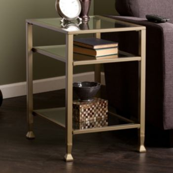 Glass Metal End Table
