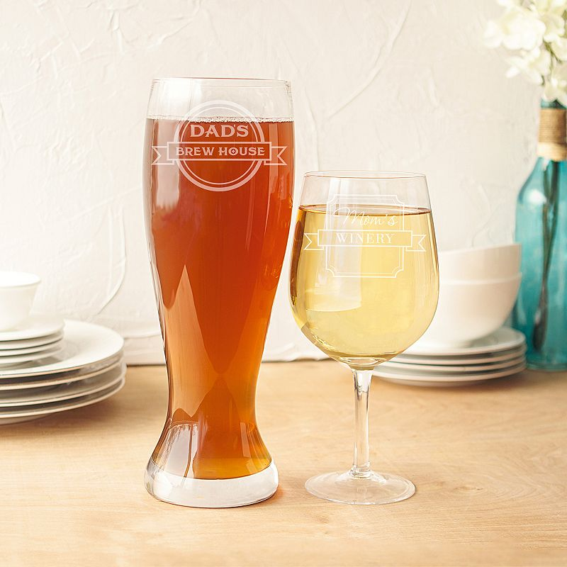 Cathy's Concepts 2-pc. Mom & Dad's XL Wine & Beer Glass Set, Multicolor