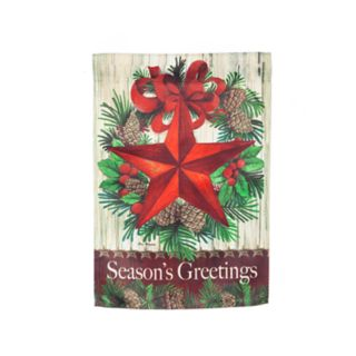 """Season's Greetings"" Star Indoor / Outdoor Garden Flag"