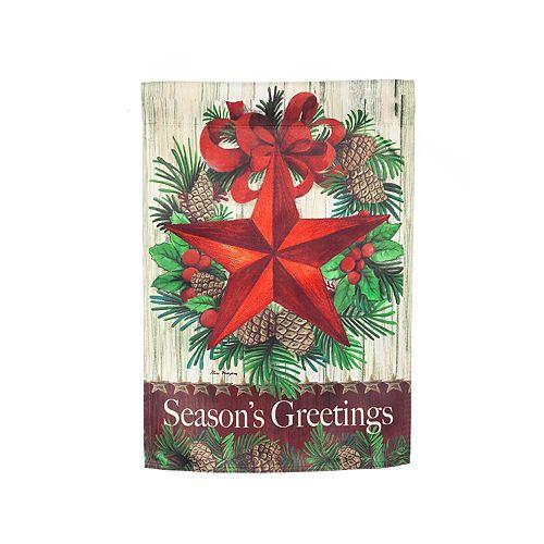 """""""Season's Greetings"""" Star Indoor / Outdoor Garden Flag"""