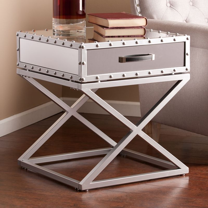 Stockard Industrial End Table, Silver