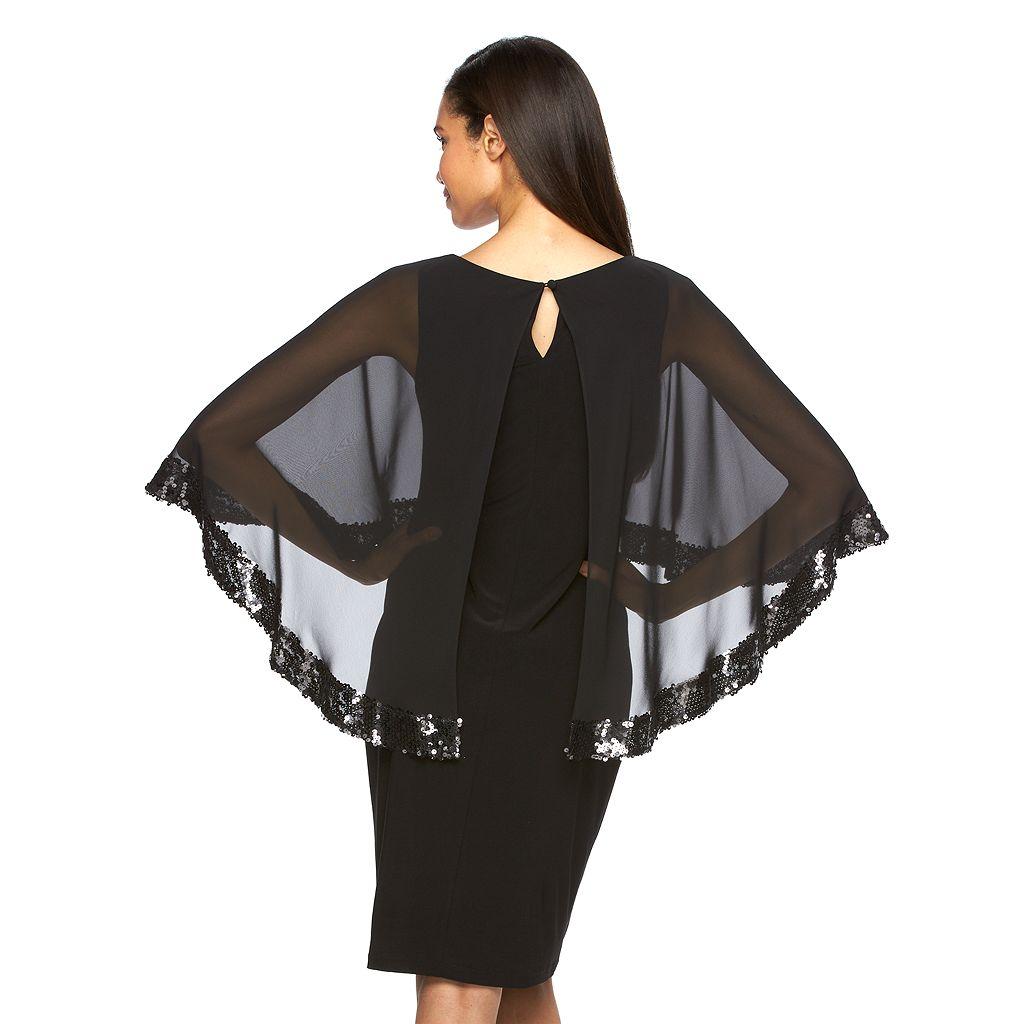 Women's Scarlett Sequin Capelet Sheath Dress