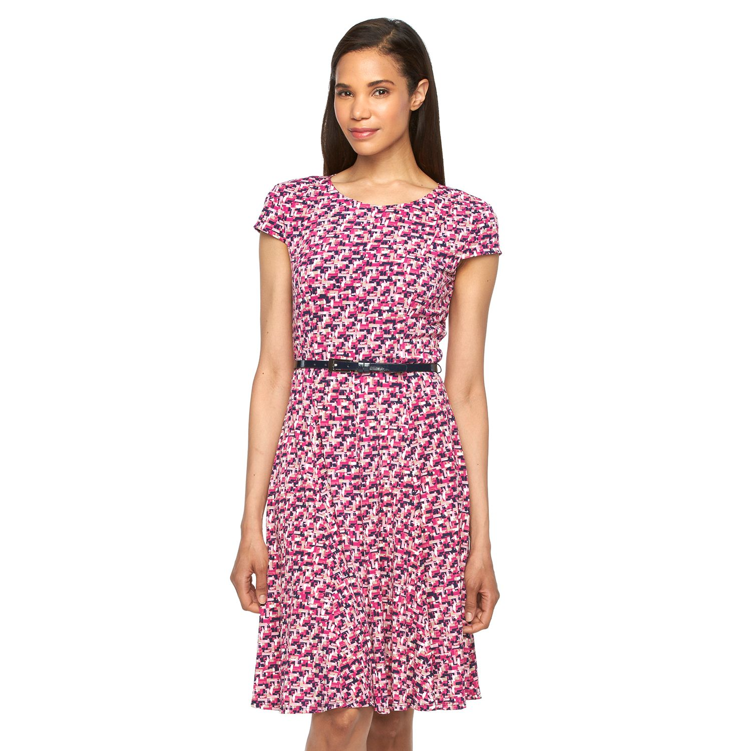 Womens Jessica Howard Print Belted Fit & Flare Dress