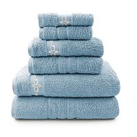 Pacific Coast Textiles 6-piece Luxury Cotton Fleur Swirl & Solid Mix & Match Towel Set