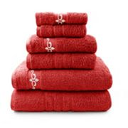 Pacific Coast Textiles 6 pc Luxury Cotton Fleur Swirl & Solid Mix & Match Towel Set