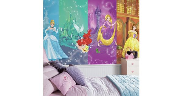 Disney princess scenes wall mural by roommates for Disney princess ballroom mural