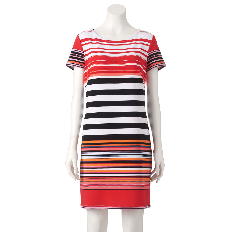 Womens Perceptions Striped Shift Dress