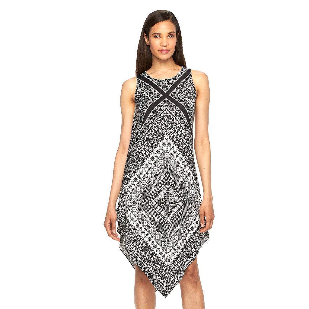 Women's MSK Printed Asymmetrical Hem Shift Dress