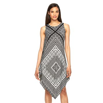 Women's MSK Printed Asymmetrical Hem Shift Dress