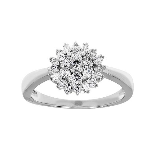 10k White Gold 1/2 Carat T.W. Diamond Starburst Ring