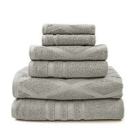 Pacific Coast Textiles 6-piece Diamond Jacquard & Solid Mix & Match Bath Towel Set