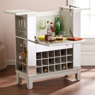 Mulvaney Mirrored Fold-Out Bar Cabinet