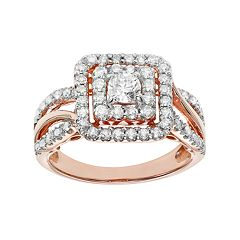 Simply Vera Vera Wang 14k Rose Gold 1 Carat T.W. Certified Diamond Square Halo Engagement Ring by