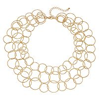 Circle Link Multi Strand Necklace