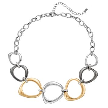 Tri Tone Graduated Oblong Link Necklace