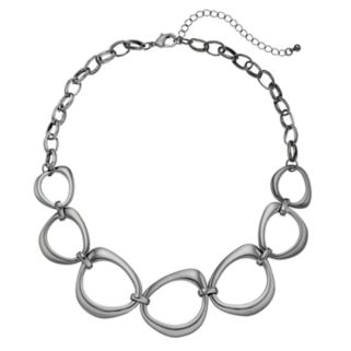 Oblong Circle Link Statement Necklace