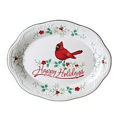 Pfaltzgraff Winterberry 'Happy Holidays' Cardinal Platter