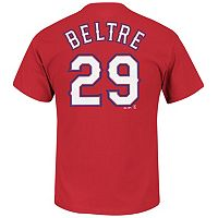 Men's Majestic Texas Rangers Adrian Beltre Player Name and Number Tee