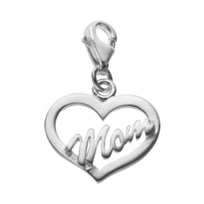 "personal charm Sterling Silver ""Mom"" Heart Charm"