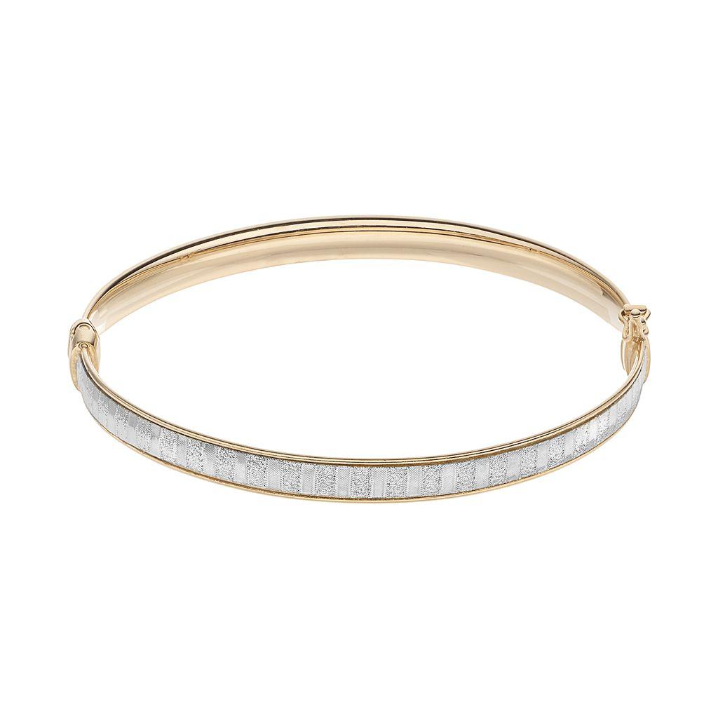Sterling Silver Glitter Hinged Bangle Bracelet