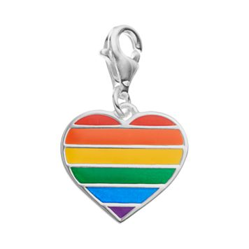 personal charm Sterling Silver Rainbow Heart Charm