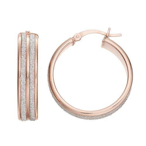 Sterling Silver Glitter Hoop Earrings