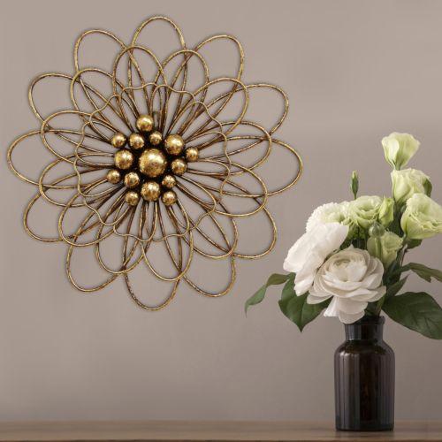 Stratton Home Decor Gold Finish Flower Wall Art