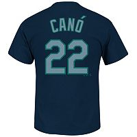 Men's Majestic Seattle Mariners Robinson Cano Player Name and Number Tee